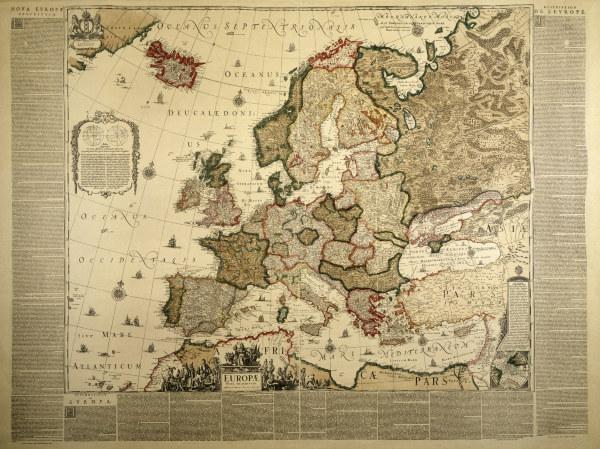 europa landkarte j blau als kunstdruck oder handgemaltes gem lde. Black Bedroom Furniture Sets. Home Design Ideas
