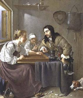 A Couple Playing Backgammon (panel)
