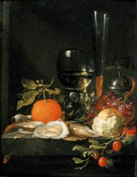 Still Life of Oysters, Grapes, Bread and Glasses on a Ledge Bread and