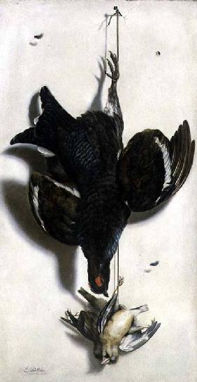 Trompe l'oeil of a black grouse and finches