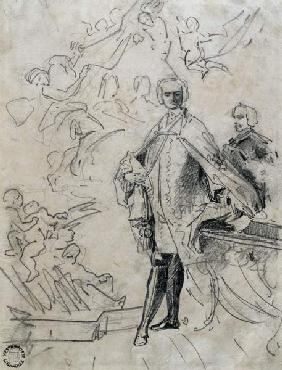 Sketch of Carlo Broschi 'il Farinelli' (1705-82) 18th