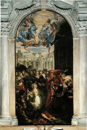 Saint Agnes revives the son of the Prefect of Rome