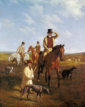 Kunstdruck von Jacques-Laurent Agasse - Bildnis des Lord Rivers zu Pferde mit seinen Freunden