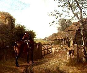 Kunstdruck von Jacques-Laurent Agasse - Daniel Beale besucht mit seinem Lieblingspferd seinen Hof in Edomton