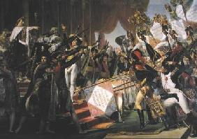 The Distribution of the Eagle Standards, 5th December 1804, detail of the standard bearers 1808-10