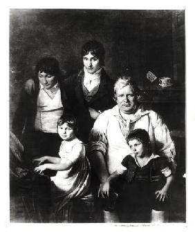 Family Portrait, formerly known as Michel Gerard (1737-1815) member of the Convention, with his Fami end of 18t