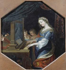 St. Cecilia Playing the Organ
