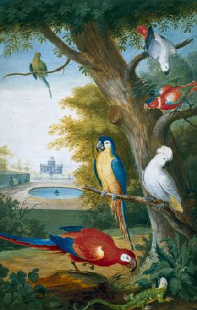 Parrots and a Lizard in a Picturesque Park early 18th