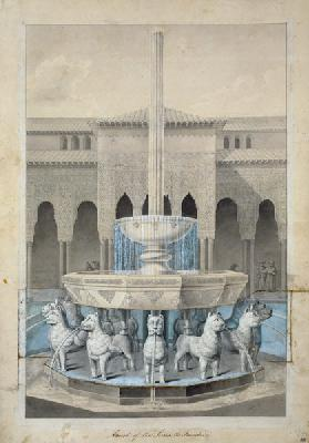 Fountain in the Court of the Lions, Alhambra, from 'The Arabian Antiquities of Spain' published