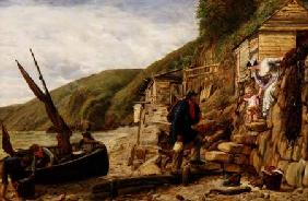 """Welcome, Bonny Boat!"" The Fisherman's Return, scene at Clovelly, North Devon 1856"