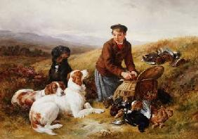 A Young Gillie With Setters and Dead Game 1877