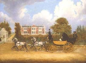 A Barouche drawn by Four Greys passing a Jacobean Mansion 1830