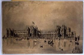 Perspective drawing of the artist's proposed new Houses of Parliament 1835  & in