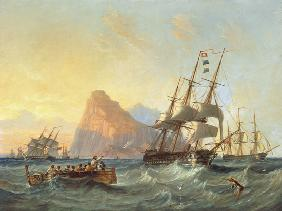 Warships Under Sail at Gibraltar 1855