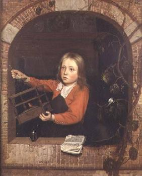 Young Boy with a Birdcage (panel)