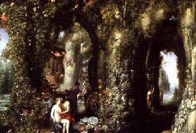 A Fantastic cave with Odysseus and Calypso