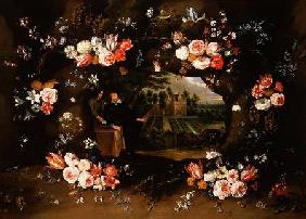 Garland of Flowers Encircling a Medallion Representing Nicolas de Man in front of his Property at An 1653