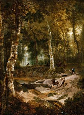 Forest landscape with stag hunt 1665
