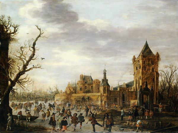 A View of Kasteel Batestein Vianen, in Winter with a Gentleman, his Wife and Retinue Watching Winter