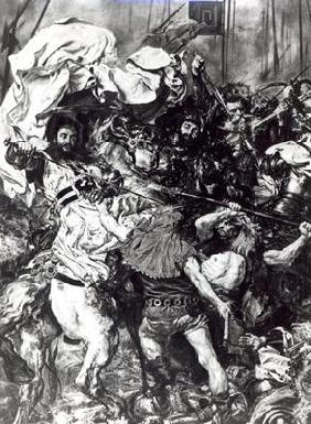 The Battle of Grunwald on 15th July 1410, detail depicting the death of the Grand Master Ulrich von 19th