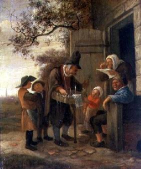 A Pedlar selling Spectacles outside a Cottage c.1650-53