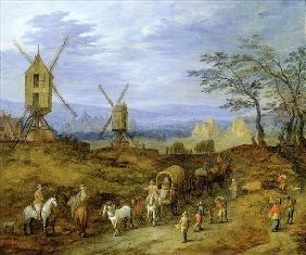 Landscape with Travellers near Windmills