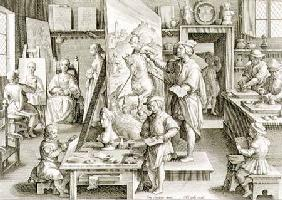 The Invention of Oil Paint, plate 15 from 'Nova Reperta' (New Discoveries) c.1600