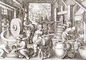 The Production of Olive Oil, plate 13 from 'Nova Reperta' c.1600