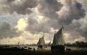 A Canal in Holland, or Two Large Sailing Ships and Cattle Near a River 1647
