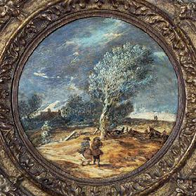 Figures crossing a heath with a brisk wind blowing 1627