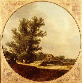 Oak Tree on a Country Lane with Travellers 1629