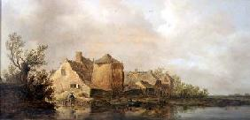 River Scene with an Inn