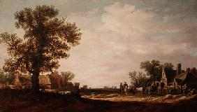 Village Scene with Horses and Carts