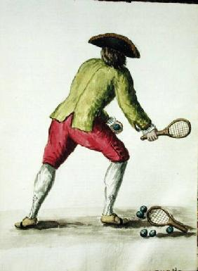 A Man Playing with a Racquet and Balls (pen & ink and w/c on paper)