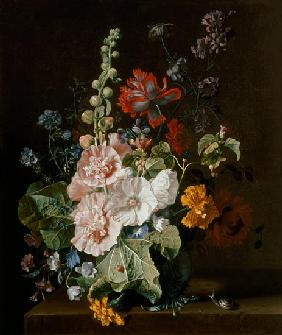 Hollyhocks and Other Flowers in a Vase 18. Jh