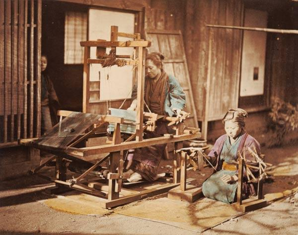 Japanese women weaving, c.1890 (hand-coloured photo)