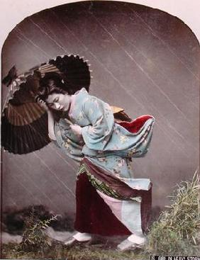 Young Japanese Girl in the Rain, c.1900 (hand coloured photo) 1763