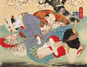 Couple Having Sex Under a Cherry Tree (w/c on silk)