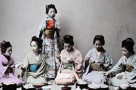 Young Japanese Girls Eating Noodles, c.1900 (hand coloured photo) 19th