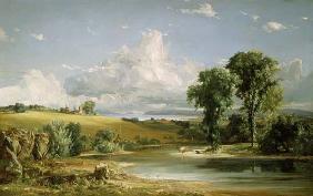Kunstdruck von Jasper Francis Cropsey - Sommernachmittag über dem Hudson