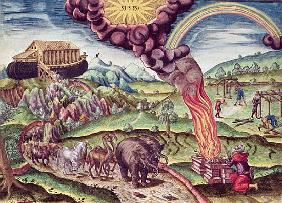 Noah''s Ark, illustration from ''Brevis Narratio...'', published by Theodore de Bry