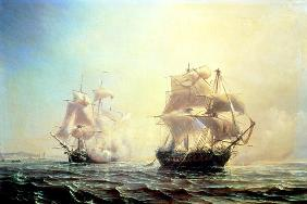 Combat between the frigate `L'Embuscade' and the `Boston' in the Port of New York in 1793 18th