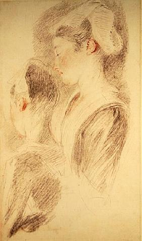 Two studies of a woman, three-quarters from rear, one in profile (sanguine and black chalk on paper)