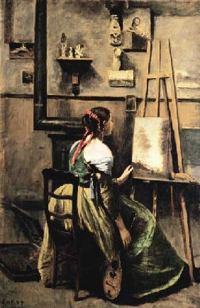 The Studio of Corot, or Young woman seated before an Easel, 1868-70 (oil on canvas) 14th