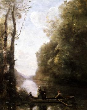 The Ferryman Leaving the Bank with Two Women 1865