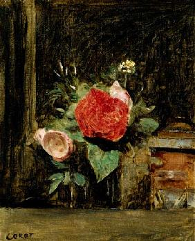 Bouquet of Flowers in a Glass beside a Tobacco Pot c.1873-74