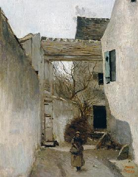 Ecouen, Corner of the Village c.1870