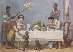 The Dinner, a white couple being served and fanned by black slaves, from 'Voyage Pittoresque et Hist 1829