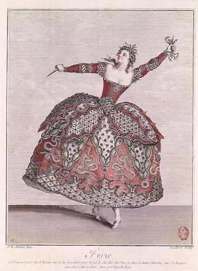 Costume design for a Fury in 'Hippolyte et Aricie' by Jean-Philippe Rameau (1683-1764) engraved by R 1904
