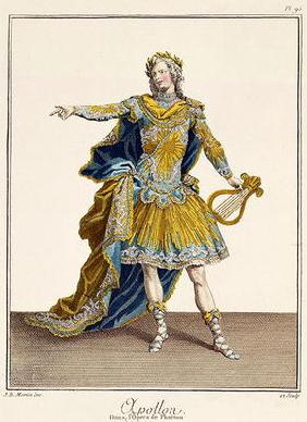 Costume for Apollo in the opera 'Phaethon', engraved by the artist, c.1780 (engraving) 17th
